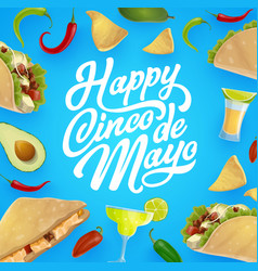 Mexican food and drink cinco de mayo fiesta party vector
