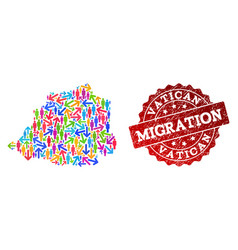 Migration collage of mosaic map of vatican and vector