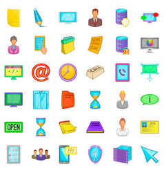 Ministry icons set cartoon style vector