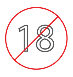 No 18 plus thin line icon prohibited and ban age vector
