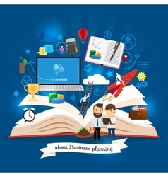 Open book with business strategy concept vector