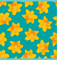 Orange lily on green teal background vector