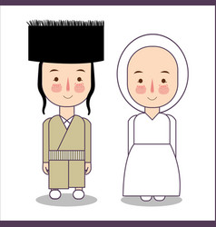 Orthodox jewish wedding clothes traditional vector