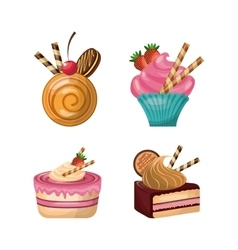 Pastry icon set Dessert design graphic vector
