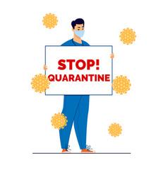 Quarantine flat cartoon vector