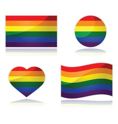 Rainbow flag set vector