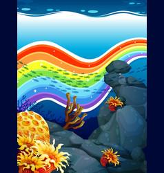Rainbow underwater vector image