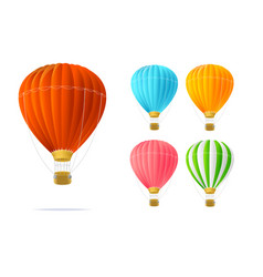 realistic detailed 3d different color hotair vector image