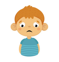 sad and disappointed cute small boy with big ears vector image