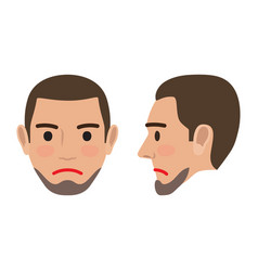 Sad man avatar user pic front and side head view vector