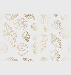 seamless golden line sea shells background vector image