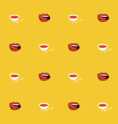 seamless pattern with tomato cream soup in bowls vector image