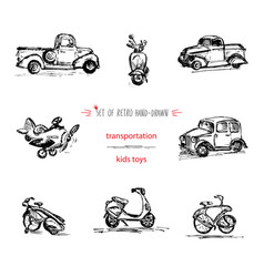 Set hand-drawn vintage kids transport toys car vector