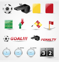 Set of 14 football icon vector