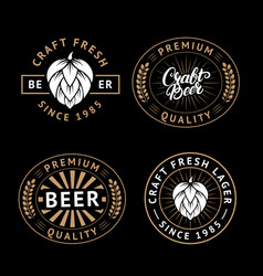 Set of beer labels in retro style vintage vector