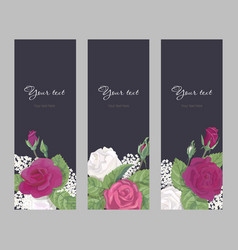 Set romantic vertical banner on dark background vector