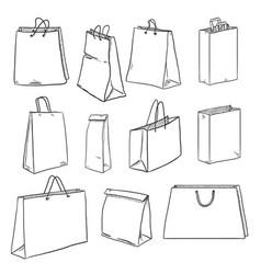 set sketch shopping bags vector image