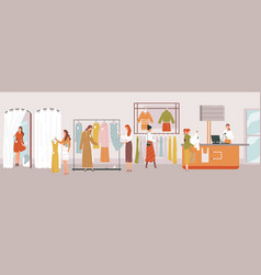 shop girl woman measures clothes fitting room vector image