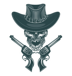 skull of a mustached cowboy with pistols vector image