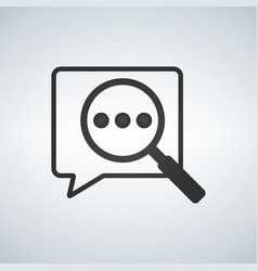 speech bubble icon with magnifier symbol vector image