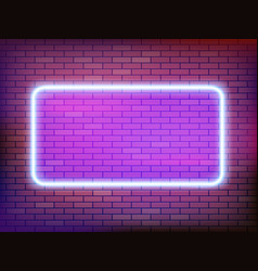 square neon frame template on a brick wall vector image
