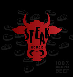 Steak house logo vector