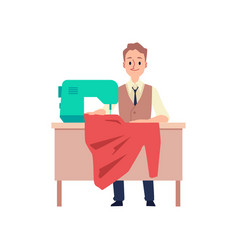 Tailor man sitting behind table with sewing vector
