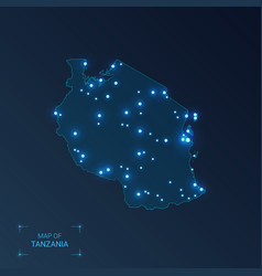 Tanzania map with cities luminous dots - neon vector