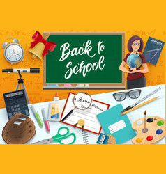 Teacher school and student supplies chalkboard vector
