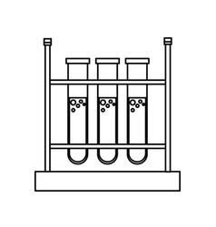 Test tube rack laboratory chemistry equipment line vector