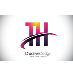 Th t h purple letter logo with swoosh design vector