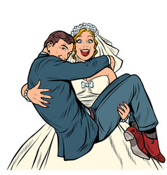 the bride carries groom marriage and love vector image