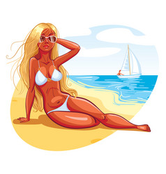 The girl sunbathes on the beach vector
