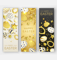 three easter vertical banners with realistic vector image