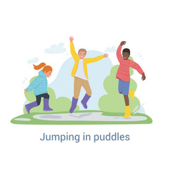 Three joyful young kids jumping in puddles after vector