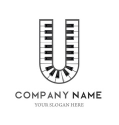 u letter logo design piano keyboard logo vector image