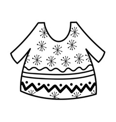 warm ugly sweater with snowflakes thick line vector image