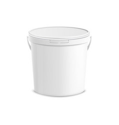 White plastic bucket mockup vector
