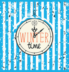 winter banner with clock and snowflakes vector image
