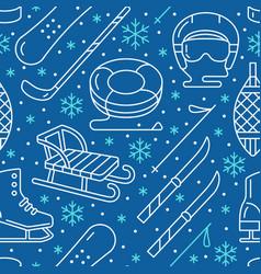 winter sports dark blue seamless pattern vector image