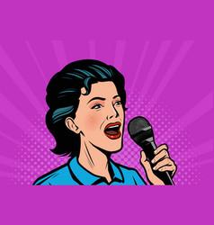 woman with microphone retro comic pop art vector image