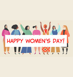 women holding a big banner with congratulations vector image