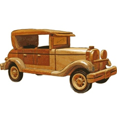 wood toy car vector image