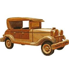 Wood toy car vector