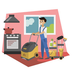 worker cleaning service wash vector image