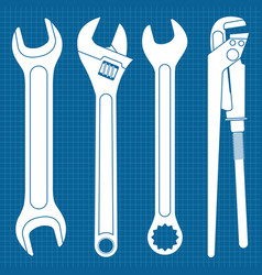 wrenches set white industrial tools icons on vector image