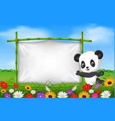 cartoon panda standing on a bamboo frame vector image