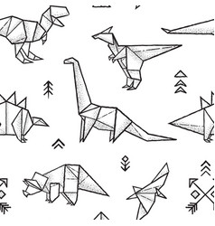 origami dinosaurs seamless pattern in black and vector image vector image