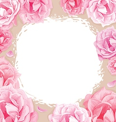 pink roses on a beige background vector image