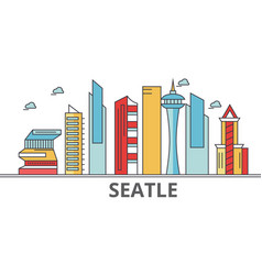 seattle city skyline buildings streets vector image